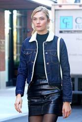Karlie Kloss - Black Leather Mini Skirt & Denim Bomber Jacket, NYC 10/31/2016