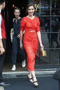 Alison Brie - Wearing a red dress leaving The Bowery Hotel in NYC 6/20/18