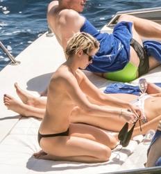 Kristen Stewart in a Bikini on a Yacht in Italy - 7/14/19