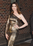 Anne Hathaway - Arriving at The Late Show with Stephen Colbert in NYC 5/23/18