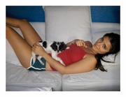 Shiri Appleby - TBT Instagram pic Short Shorts a Tank Top and a Puppy