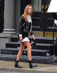 Josephine Skriver - On set of a photoshoot in NYC 9/28/18