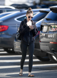 Lily Collins - Leaving the gym in LA 1/30/19