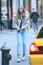 Josephine Skriver - Filming a Maybelline commercial in NYC 1/11/19