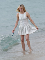 Chloe Sevigny - On set of a photoshoot at the beach in Cannes *Upskirt* 5/10/18