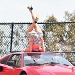 Elsa Hosk - On set of a Ferrari photoshoot in LA 4/17/18