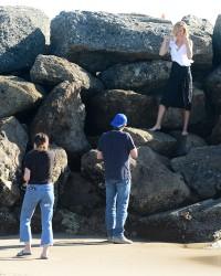 Hailey Clauson - On set of a photoshoot in Venice Beach 2/5/18