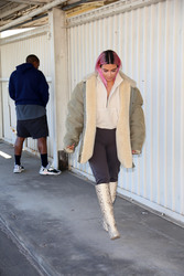 Kim Kardashian - Debuts Pink Hair at a warehouse in LA 2/25/18