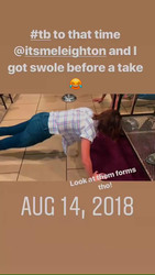 Leighton Meester doing pushups on the set of Single Parents - 8/14/18 Instagram Video