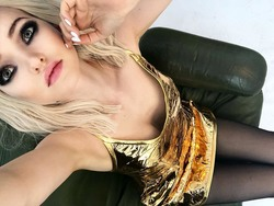 Dove Cameron in a Gold Dress - 8/28/18 Instagram