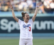 Billie Lourd -                            Throwing the 1st Pitch Dodger Stadium Los Angeles June 15th 2018.