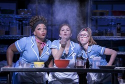 Katharine McPhee as Jenna in new West End production of Waitress at the Adelphi Theatre London UK