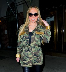 Mariah Carey - Heading Out In A Camo Jacket And Leather Pants In NYC (1/24/18)
