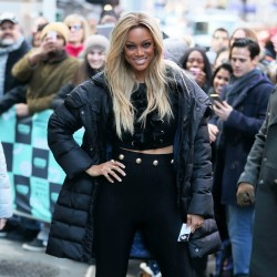 Tyra Banks - Arriving at the AOL Build Studios in NYC 1/9/18