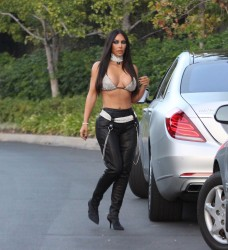 Kim Kardashian - Dressed as Aaliyah in Beverly Hills 10/28/17