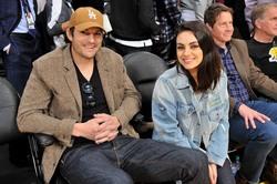 Mila Kunis with Ashton at Laker game 01-29-19