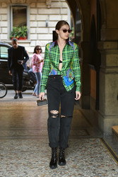 Gigi Hadid - Leaving Robert Cavalli Offices in Milan 9/21/18