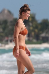 Nina Agdal - Bikini Candids on set of a photoshoot in Tulum, Mexico 2/22/18