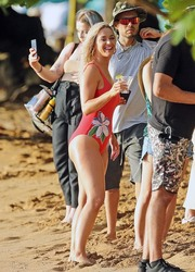 Katy Perry in a Red Swimsuit at a Beach in Hawaii - 7/2/19