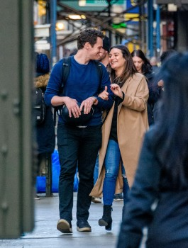 Lea Michele with Jonathan Groff in NYC 11212017