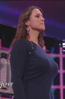 Stephanie McMahon Showing Off Her Massive Chest In A Blue Sweater