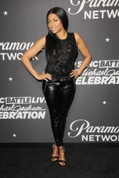 "Taraji P. Henson - In Black Leather Arriving For ""Lip Sync Battle LIVE: A Michael Jackson Celebration (1/18/18)"