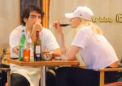 Sophie Turner - Spotted having a glass of wine at Sant Ambroeus in NYC - July 31, 2018