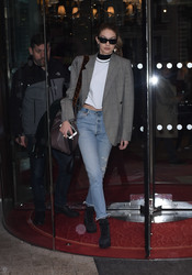 Gigi Hadid - Leaving her  hotel in Paris 3/4/18
