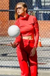 Gigi Hadid - On set of a photoshoot in NYC 10/17/18