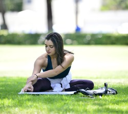 Rebecca Black - Doing yoga at the park in Beverly Hills 8/1/18