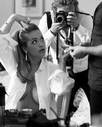 Rita Ora Braless in a White Shirt - 3/3/18 Instagram