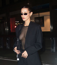 Bella Hadid - Wearing a see-thru top Leaving Victoria's Secret Offices in NYC 11/4/18
