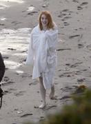 Emma Stone - Filming at the beach in Malibu 4/25/18