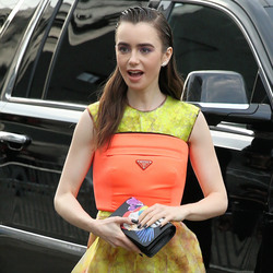 Lily Collins - Arriving at the Prada Resort 2019 Collection Show in NYC 5/4/18