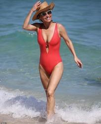 Giada De Laurentiis in a Red Swimsuit at a Beach in Miami - 2/19/20